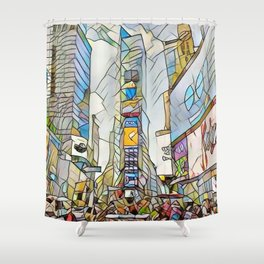 NYC Life in Times Square Shower Curtain