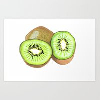 kiwi Art Prints featuring Kiwi by Inkwork