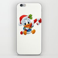 donald duck iPhone & iPod Skins featuring Christmas baby Donald Duck by Yuliya L