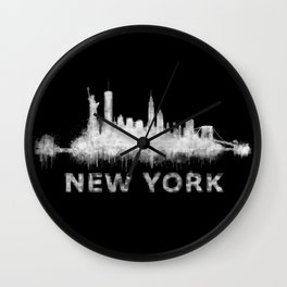 new york nyc city cityscape watercolor white v6 Wall Clock