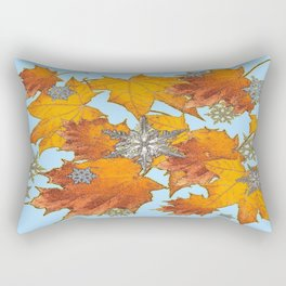Decorative Blue Winters Snowflakes old Autumn Leaves Art Rectangular Pillow