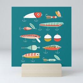 Fishing Lures Blue Mini Art Print