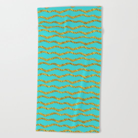 Golden waves - Abstract geometrical pattern on aqua backround Beach Towel