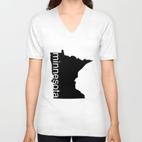 minnesota V-neck T-shirts featuring Minnesota by Isabel Moreno-Garcia