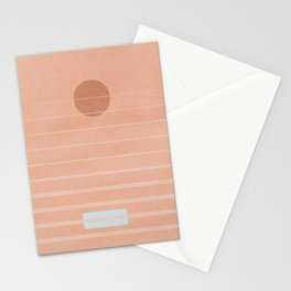 Sunrise boats and the pink sea - geometry landscape Stationery Cards