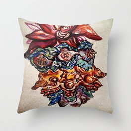 Three Eyed Flower Faced Watercolor Painting. Throw Pillow