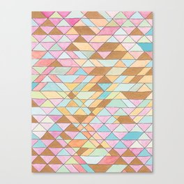 Triangle Pattern No. 25 Gold Pink Turqouise Canvas Print