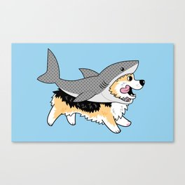 Another Corgi in a Shark Suit Canvas Print