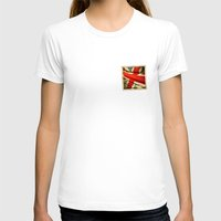 sticker T-shirts featuring Sticker with UK flag by Lulla