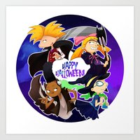 hey arnold Art Prints featuring Hey Arnold Halloween by Veronica Campbell