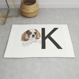 K is for King Charles Cavalier Dog Rug