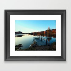 Indian summer sunset at the fishing lake II   waterscape photography Framed Art Print