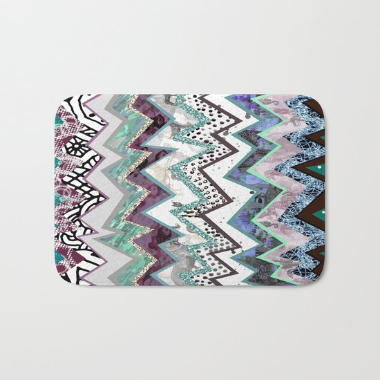 Cool Blues Zigzags Abstract Bath Mat