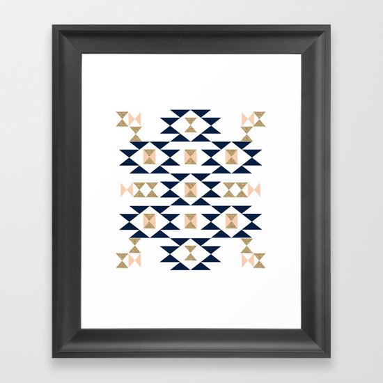 Jacs - Modern pattern design in aztec themed pattern navajo print textile cute trendy girl Framed Art Print