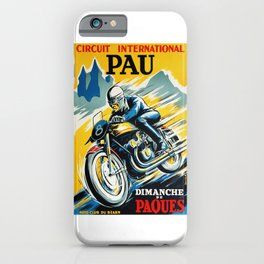 Grand Prix de Pau, Race poster, vintage motorcycle poster, retro poster, iPhone Case