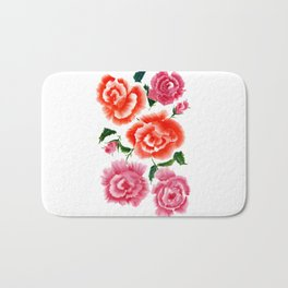Roses bouquet in Watercolor Bath Mat