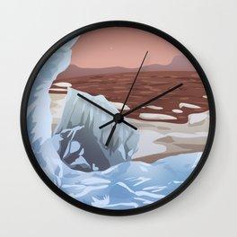 Mars Polar Caps Wall Clock