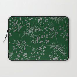 Forest green country chic faux silver floral leaves Laptop Sleeve