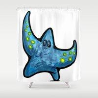 starfish Shower Curtains featuring Starfish by Michael Hewitt