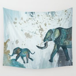 Follow me baby elephant Wall Tapestry