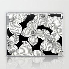 Dogwood Floral Linear: Ivory on Black  Laptop & iPad Skin