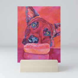 Dog and donut Mini Art Print