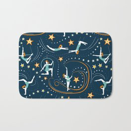 Circus Performers 1920s Acrobats on dark navy Bath Mat