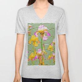 White-Pink  yellow Iris Wave Art Unisex V-Neck