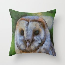 Tawny Owl In The Style of Camille Throw Pillow