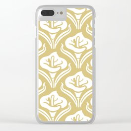 Calla Lily Pattern Gold Clear iPhone Case