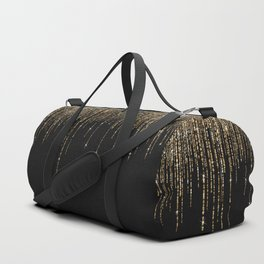 Luxury Chic Black Gold Sparkly Glitter Fringe Duffle Bag