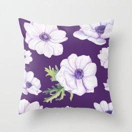 Anemones Purple #society6 #buyart Throw Pillow