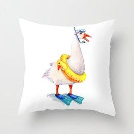 Snorkeling Goose Throw Pillow