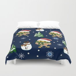Cute Xmas pattern design with owls and snowmen Duvet Cover