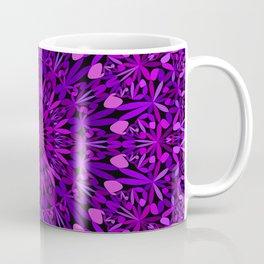 Purple Leaves Kaleidoscope Mandala Coffee Mug
