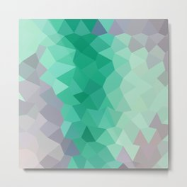 Celadon Green Abstract Low Polygon Background Metal Print