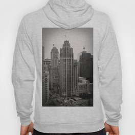 Chicago Tribune Tower Building Black and White Photo Hoody