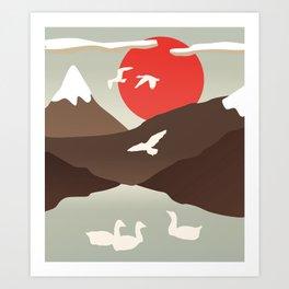 Swan Migration Art Print