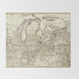 Map of the Continental Railroad Route (1873) Throw Blanket