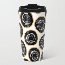 Black & Gold Kiwi Pattern Travel Mug