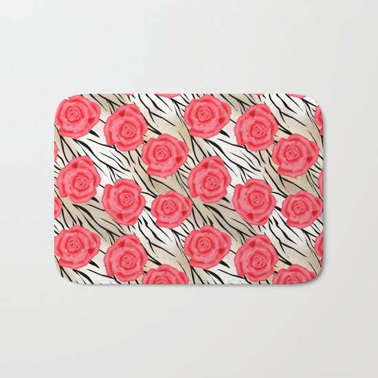 Red roses on a light tiger background . Bath Mat