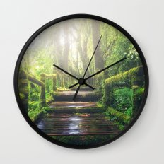 Green Jungle Forest Path Wall Clock