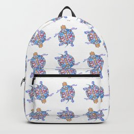 Sea Turtle - Aqua Blue Palette | Folk design Backpack