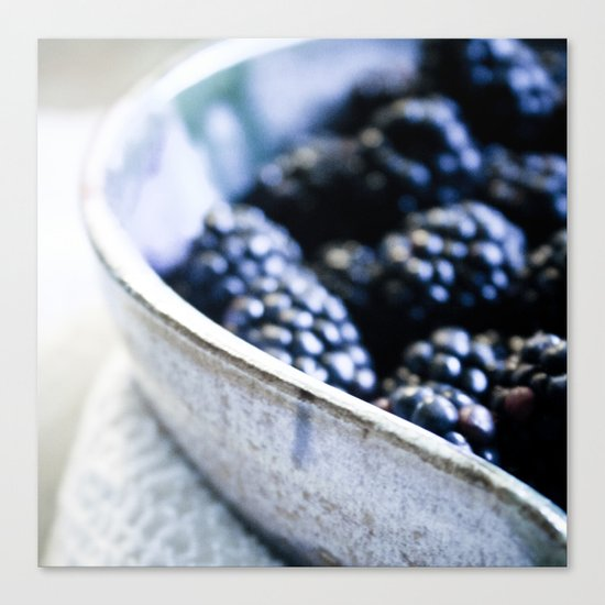 Black Berry Bowl Canvas Print
