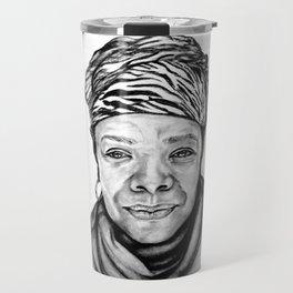 Maya Angelou - BW Original Sketch Travel Mug