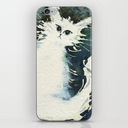 Frosty Whimsical White Cat iPhone Skin