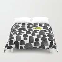 garden Duvet Covers featuring Turtle in Stone Garden by Picomodi