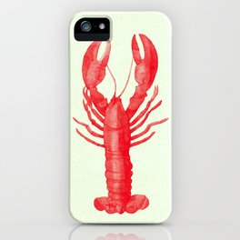 Pink Lobster on Linen Nautical Decor iPhone Case
