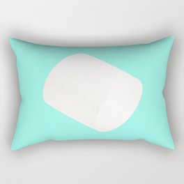 White Cylinder on blue Background Rectangular Pillow