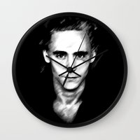tom hiddleston Wall Clocks featuring Loki (Tom Hiddleston) by Olive in Pinkland